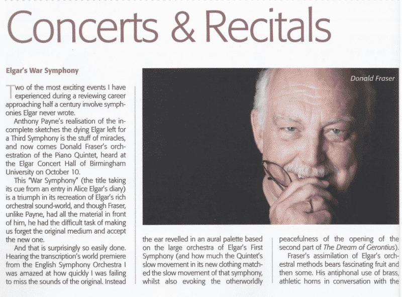 "Musical Opinion on ESO/Elgar/Fraser ""…gorgeous depths of tone…"""
