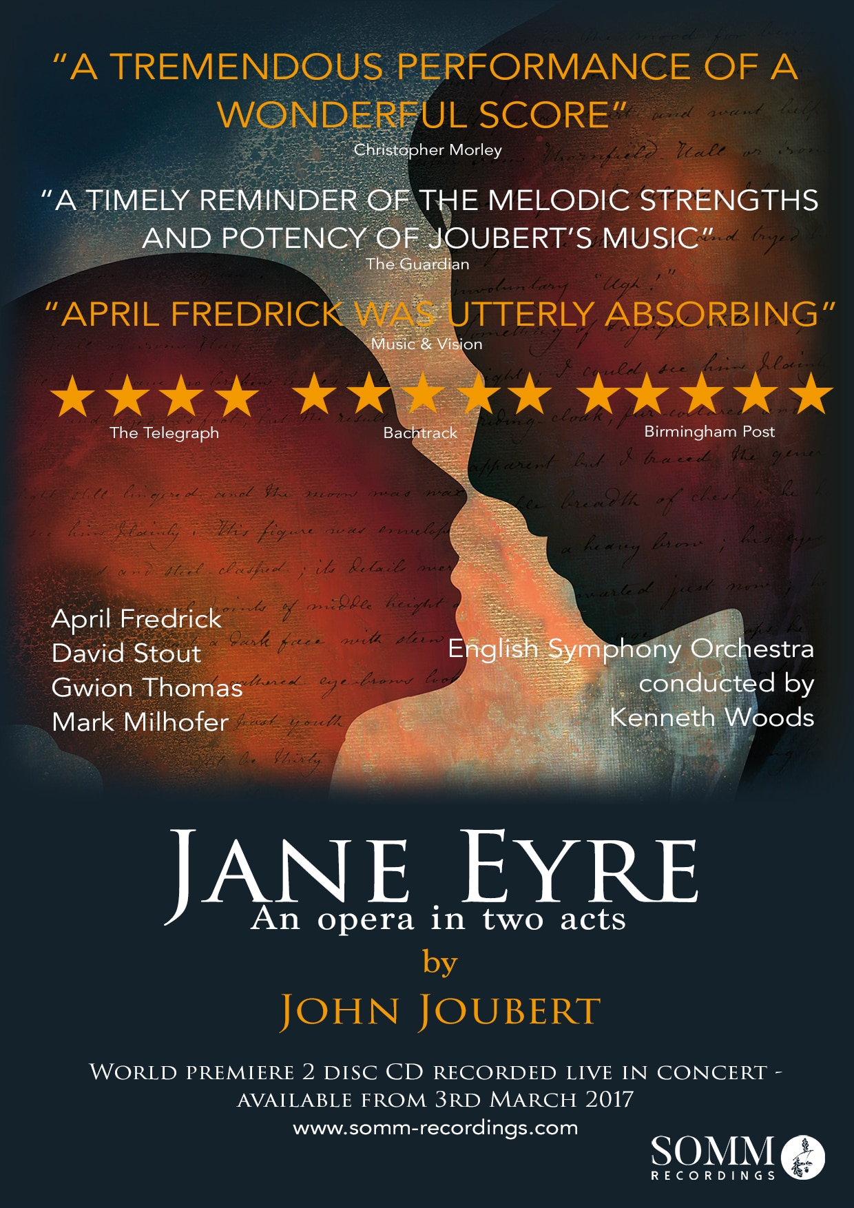 "ESO Earns Classical Music Magazine ""Premiere of the Year"" for Second Year in a Row with John Joubert's Jane Eyre"