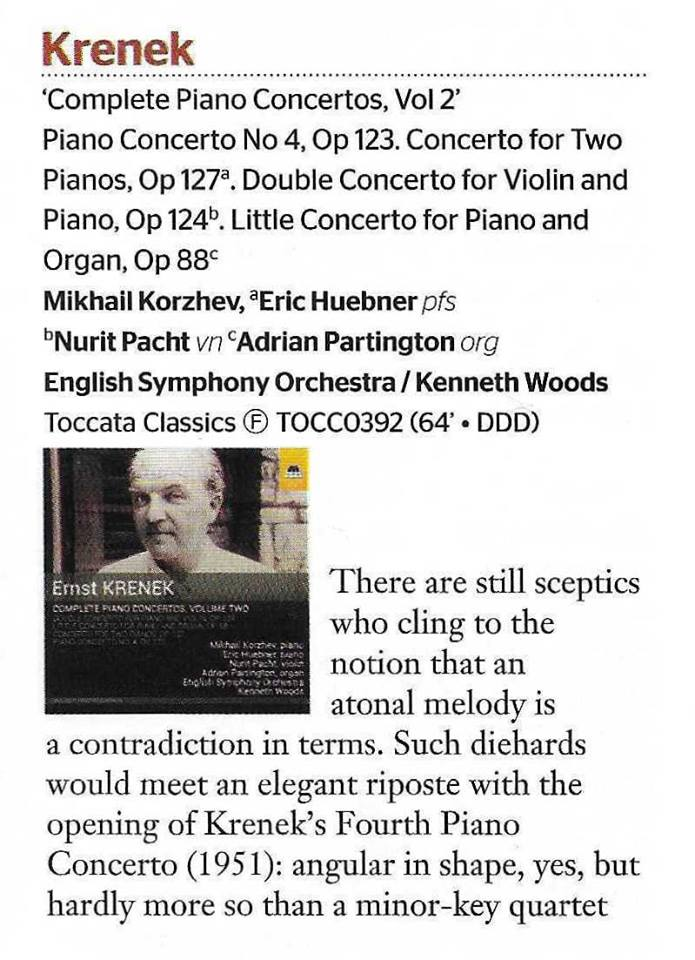 "ESO's Krenek CD a Sunday Times ""Essential New Release"""