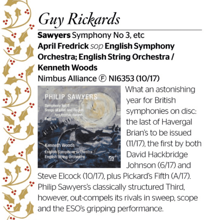 Philip Sawyers Symphony no. 3 a 2017 Gramophone Critic's Choice Best of the Year