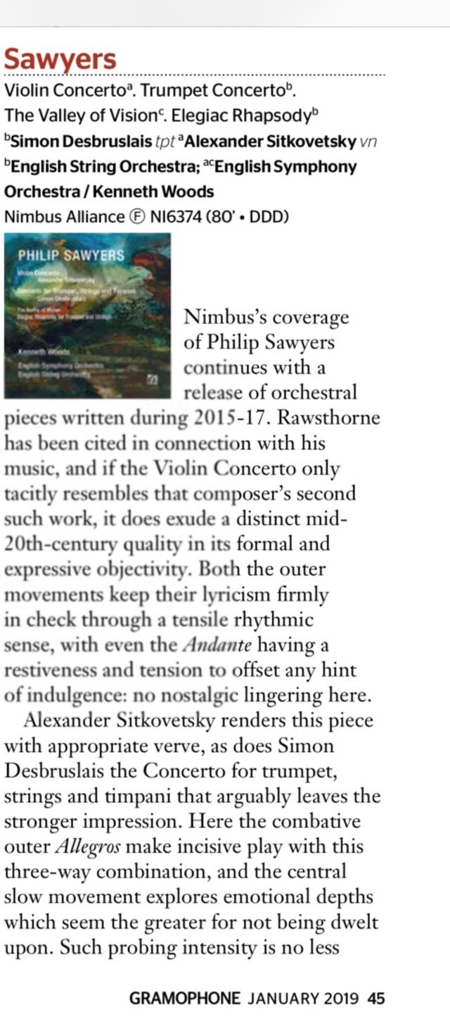 Gramophone Magazine on Sawyers Violin and Trumpet Concerti